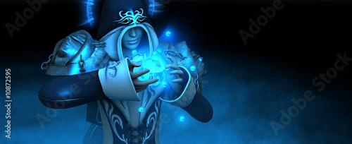 Fotografie, Obraz  female mage casting spell