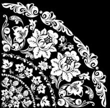 White Quadrant With Big Flowers