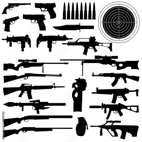 Weapon silhouettes Wallpaper Mural