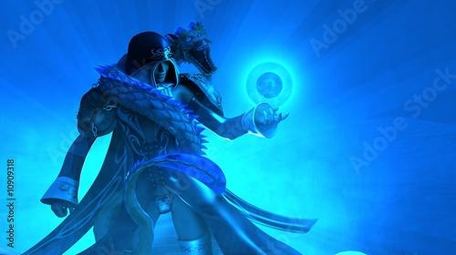 Fotografie, Obraz  Female Wizard with Dragon