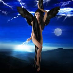 Obraz na Szkle Do sypialni the black angel
