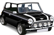 Detailed Vector  Illustration Of Old Mini Cooper