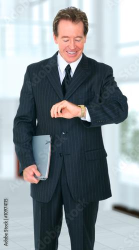 Fototapety, obrazy: Happy Smiling Senior Businessman Checking Time
