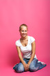natural beauty woman without make up on pink background