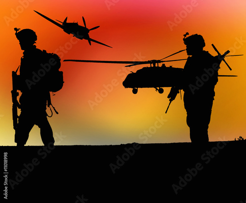 Poster Militaire Soldiers and sunset