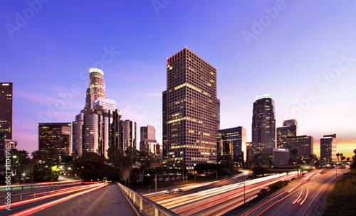 Staande foto Los Angeles Los Angeles during rush hour at sunset