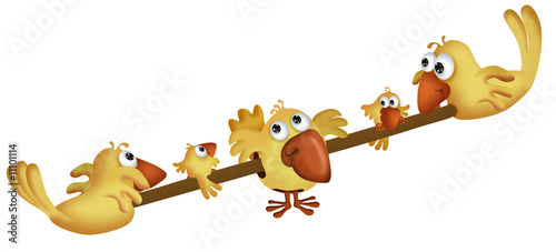 Foto op Plexiglas Vogels, bijen Yellow birds on a teeter board