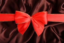 .Red Ribbon With Brown Smooth ...