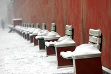 The Wall Of Forbidden City Museum In Beijing In Winter