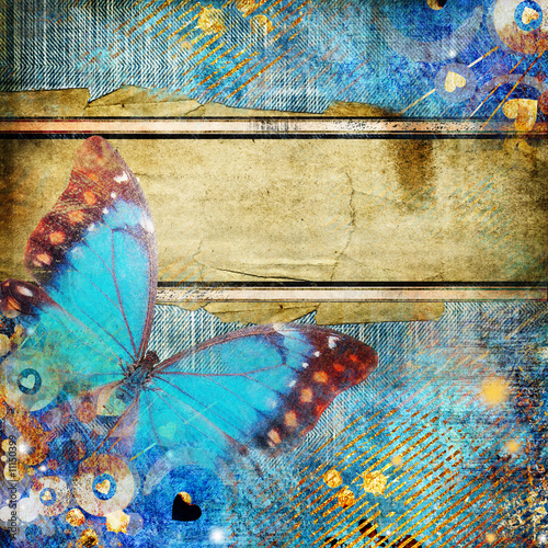 Fotobehang Vlinders in Grunge vintage abstraction with butterfly