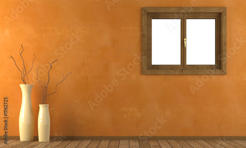 Fotografie, Obraz  pared naranja con ventana y jarrones