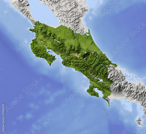 Costa Rica, shaded relief map, colored for vegetation Canvas Print