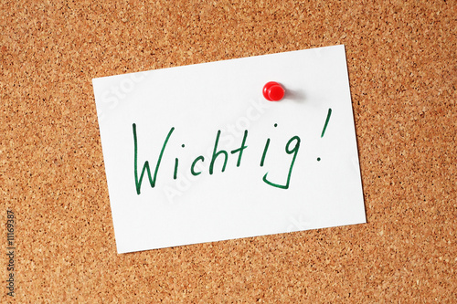 Notiz: Wichtig! Canvas Print