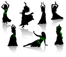 Belly Dance. Silhouettes Of Be...