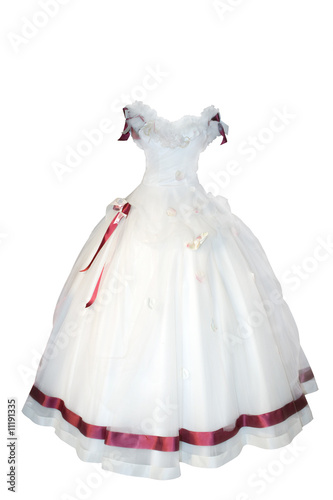 Leinwand Poster Weddings dress on a mannequin isolated on white