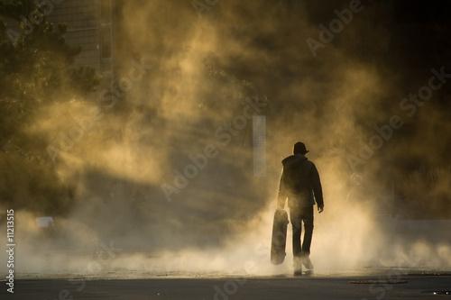 Fotografie, Obraz  Skateboarder in mist