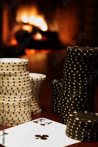 Fotografie, Obraz  Pokern am Kamin