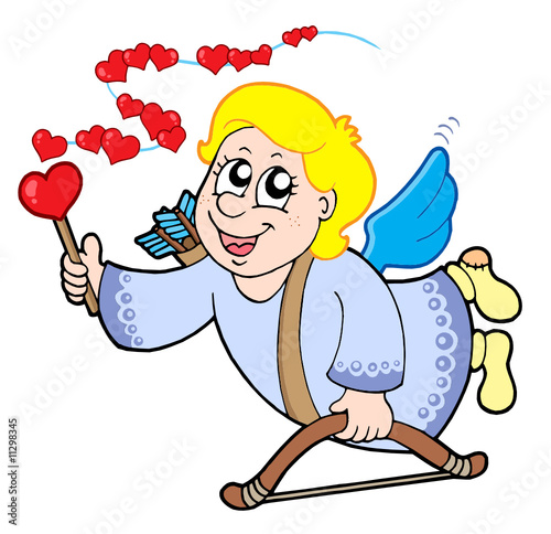 Flying cupid with magic wand