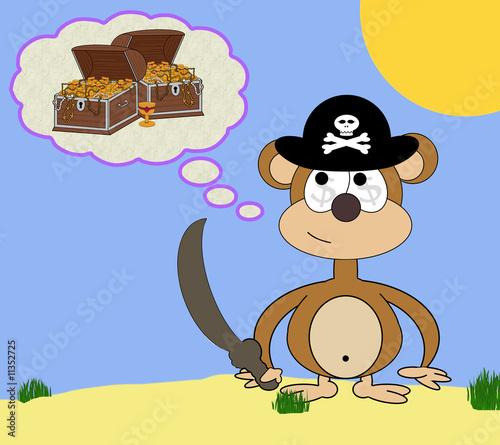 Photo sur Toile Pirates Greedy Pirate Monkey Cartoon Dream Scene