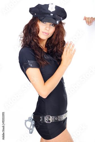 Beautiful Police Girl Holding Blank Board