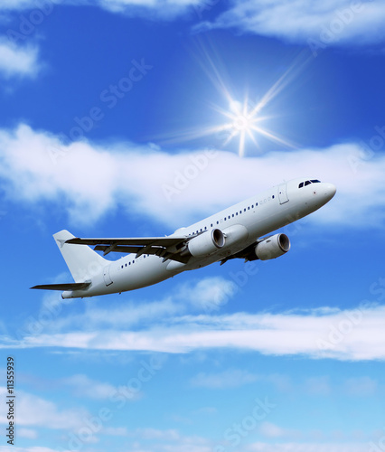airliner: aircraft in the blue sky Canvas Print