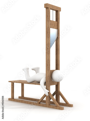 Guillotine on a white background. 3D image. Canvas Print