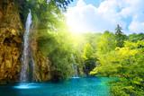 Fototapeta Natura - waterfalls in forest