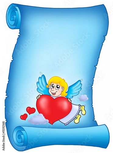 Tuinposter Hemel Valentine blue letter with flying cupid