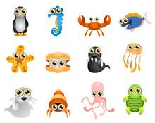 Marine Life Vector - Cartoon S...