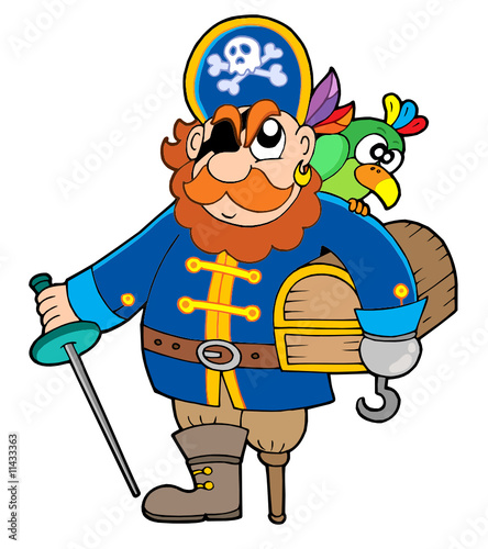 Fotobehang Piraten Pirate holding treasure chest