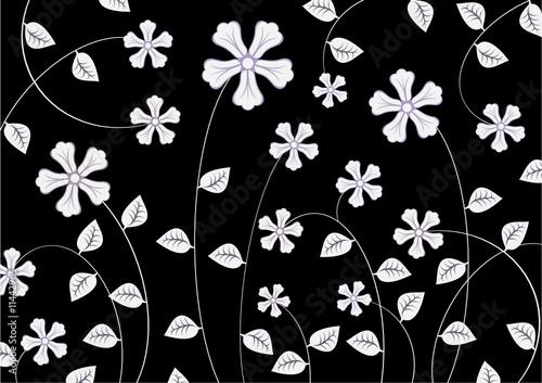 Staande foto Bloemen zwart wit abstract pattern
