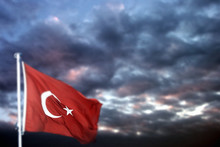 Turkish Flag Waving And Cloudy...