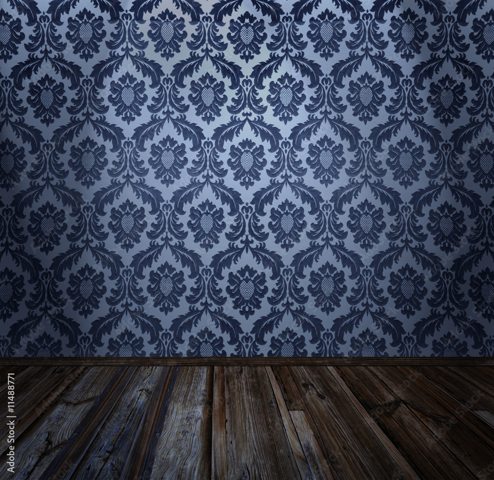Room interior - vintage wallpaper, wooden floor