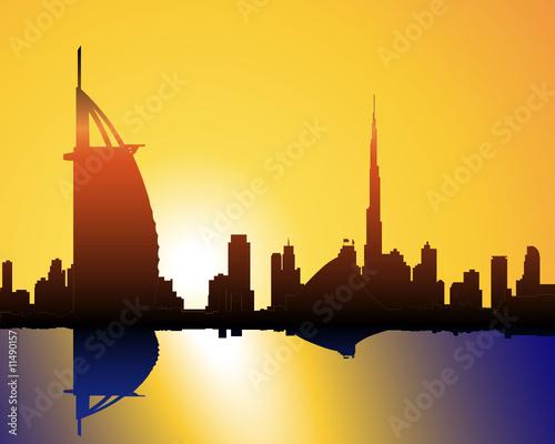 Foto-Kassettenrollo premium - Sonnenuntergang in Dubai