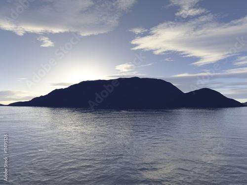 Poster Scandinavie Sonnenuntergang hinter Insel