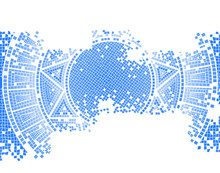 Blue Worn Out Mosaic Vector Background