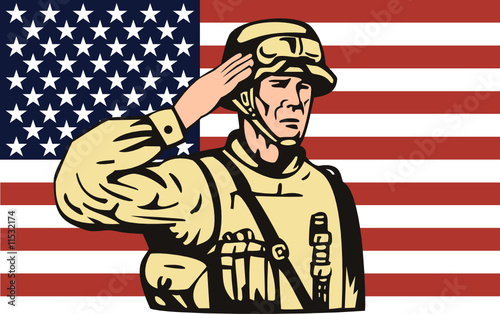 Poster Militaire American soldier saluting with flag