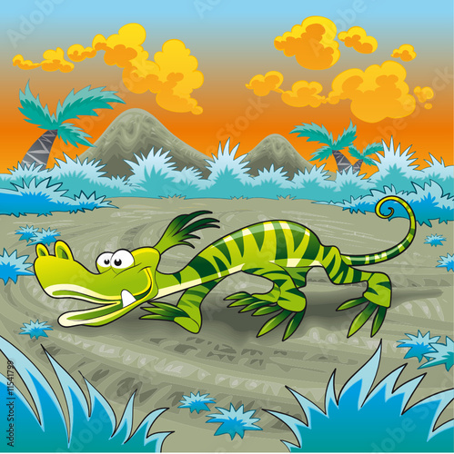 Photo sur Toile Dinosaurs Funny lizard