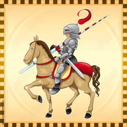 Photo sur Toile Chevaliers Knight and Horse with Background