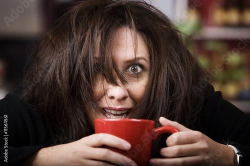 Obraz na plátne Coffee-Crazed Woman