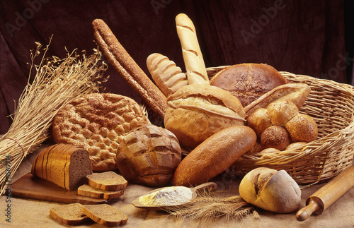 Poster Brood Group of different bread