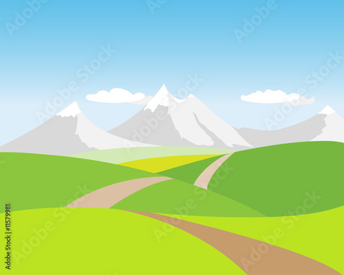 In de dag Lime groen Landschaft mit Berge