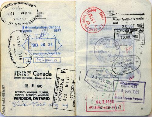 Italian passport  Canada visa, Hong Kong, Tahiti stamps