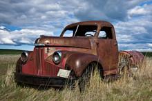 Old Rusty Truck In The Field