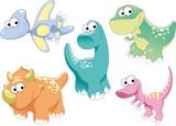 Fototapeta Dinusie - Dinosaurs Family