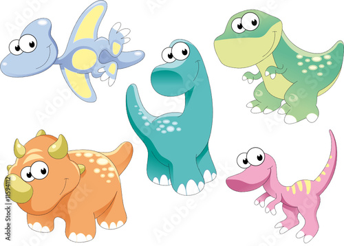 Poster Chambre d enfant Dinosaurs Family