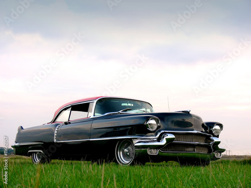 Spoed Foto op Canvas Oude auto s American Classic - Black 1950s Car