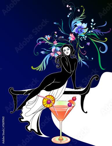 Floral femme beautiful girl silhoette