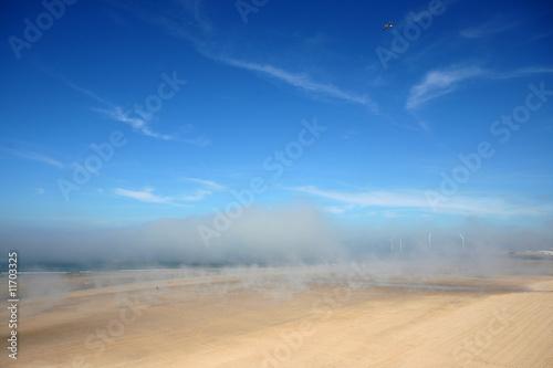 Poster de jardin Desert de sable Brouillard sur la plage