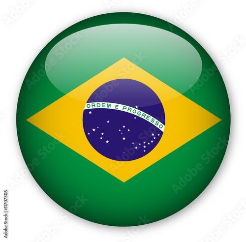 Fotografie, Obraz  Brazil Flag button